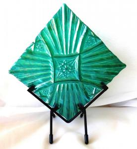 Green Iridized Textured in Stand