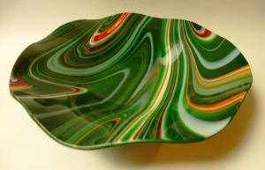 Green Red White Swirl Bowl