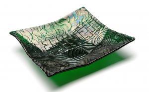 Iridized Multi Pattern Texture Geometric Dish