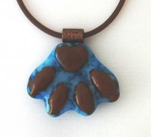 Turquoise and Brown Paw Print